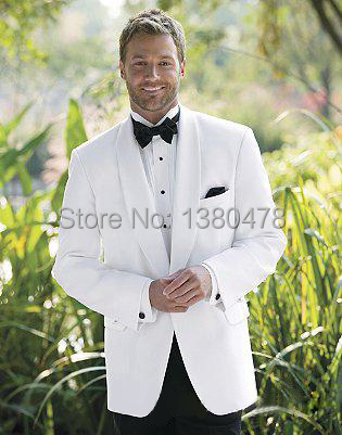 2016New Year Hote sale Fashion tuxedos White men's dress Shawl collar Wool polyester blend classic groom tuxedos wedding suits
