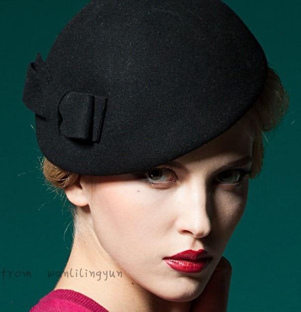 Moda qadınlarının HAT payız və qış vintage yayı yun fedoras - Geyim aksesuarları - Fotoqrafiya 1