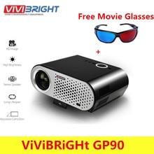 VIVIBRIGHT GP90 Видеопроектор для домашнего 3200 люмен 1280×800 Поддержка Full HD 1080 P видео WXGA LED HDMI VGA дома Театр