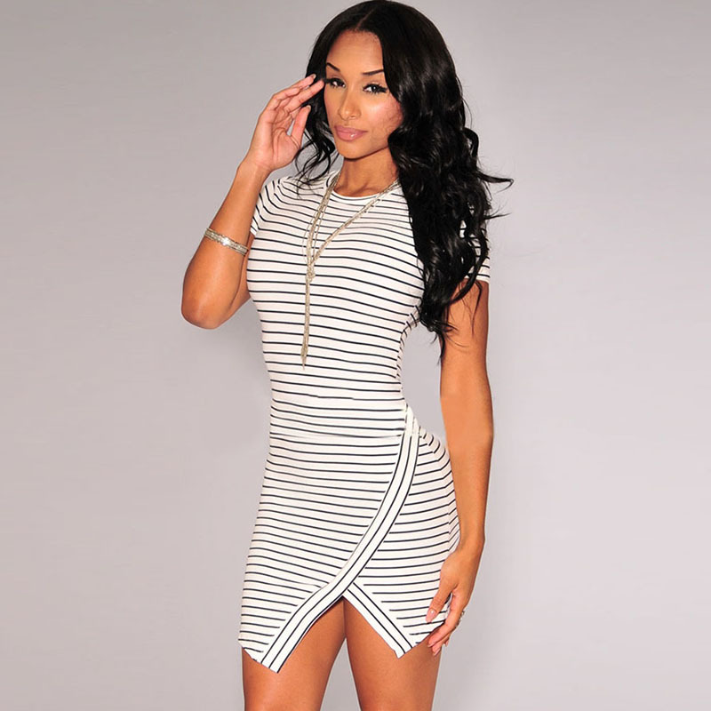 c53e3fd52 Short Sleeve Striped Casual T Shirt Dress Split Mini Sexy Short Dress New  Arrival 2015 Bodycon Dresses Women Clothing-in Dresses from Women's  Clothing on ...