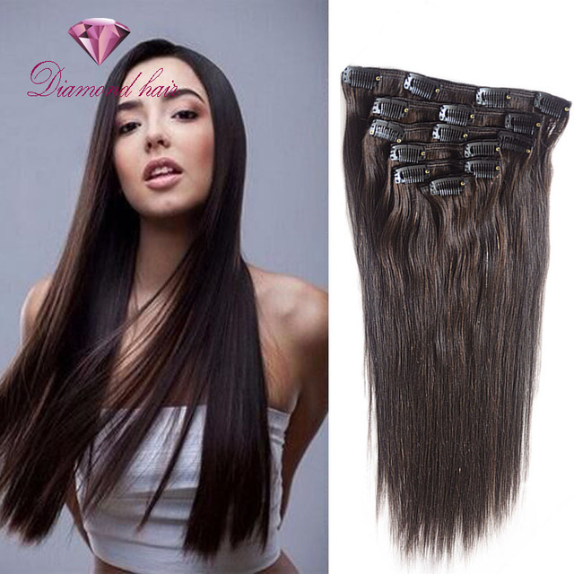 Hot Sale clip in human hair extensions 6pcs 8-28 inch Long Straight Style Hair  Extension Soft Hair 15 Clips In natural hair 4fe9cc663675