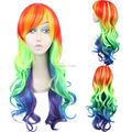 My Little Pony Rainbow Dash Synthetic Long Big Wave Party Cosplay Wig