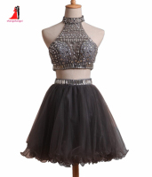 Two Piece Gray Short Homecoming Dresses High Neck Silvery Crystals Crop Top Party Gowns Cheap In
