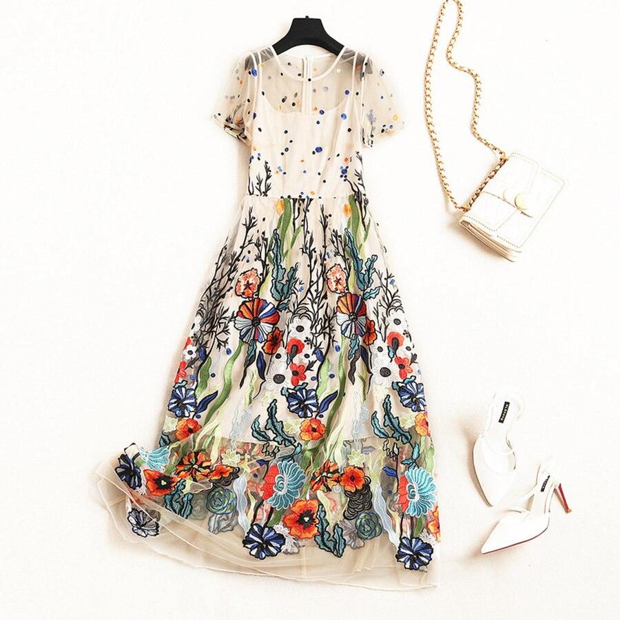 VERDEJULIAY luksusowa projektanta letnia sukienka kobiety 2019 Runway nowy mody kwiat haft Patchwork długa elegancka sukienka Vestidos w Suknie od Odzież damska na  Grupa 1