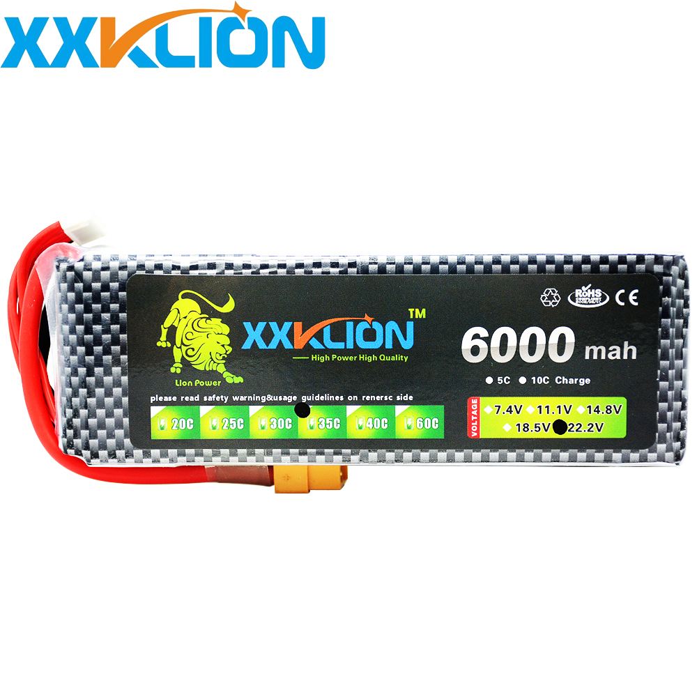 XXKLION 22.2V 6000mAh 35C 6S RC LiPo battery For RC Airplane Quadrotor Car Boat Drone RC boat drone battery pack Free Shipping yukala 4 8 v 700mah n cd aa battery for rc car rc boat rc tank 2pcs lot free shipping
