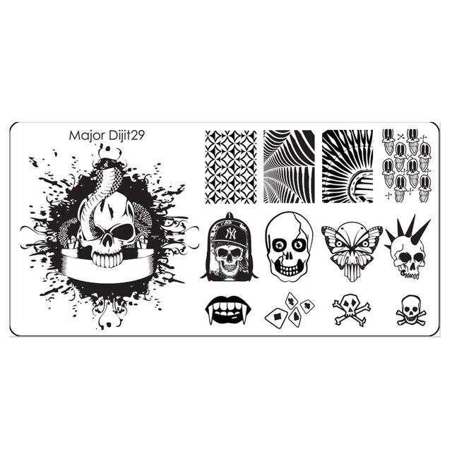 DIY Printing Nail Art Stamping Image Template Snake King Zombies ...