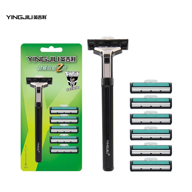 A mão dupla barbeador manual de navalha de barbear 1 turret 6 lâminas de barbear uma geração