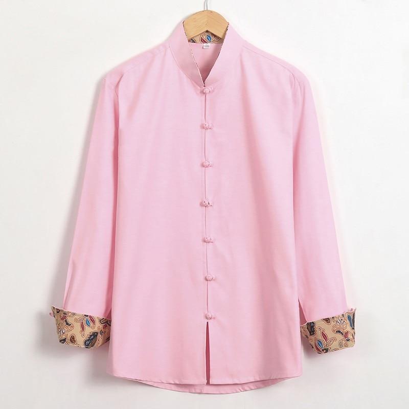 2017 Pink Chiense National Cotton Linen Shirts Autumn Kung Fu Tops Men Long Sleeve Handmade Button Clothing Plus Size M-4XL
