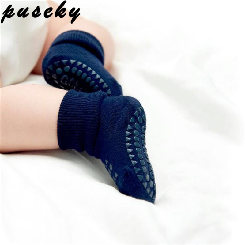 Puseky Cartoon Unisex Newborn Baby Socks Anti Slip Rubber Sole Socks For Girls/Boys Cotton Toddler Boat Winter Full Socks 0-3Y