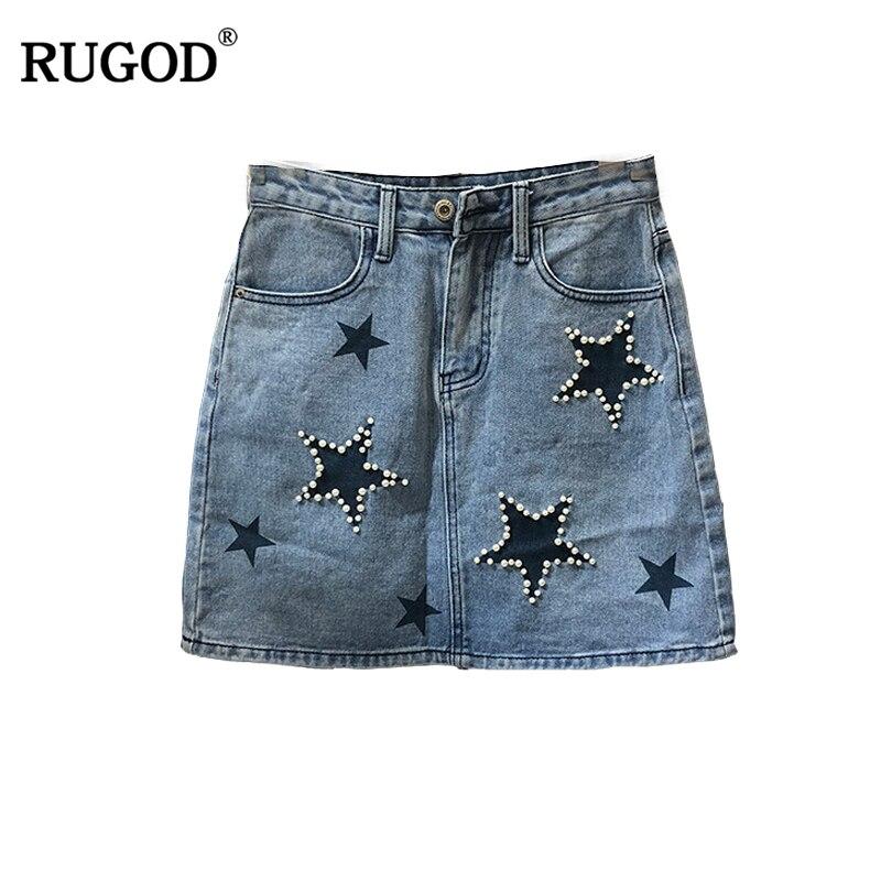 RUGOD Fashion Beading Stars Print Mini Skirt Women High Waist Blue Jeans Skirt 2018 Summer Casual Pockets A-line Denim Skirt