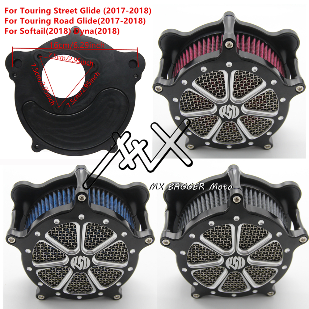 RSD Motorcylce CNC Venturi Air Intake Filter Air Cleaner For Harley Touring 2017 2018 Softail 2018 Dyan 2018 Gray Blue Red Harley-Davidson Sportster