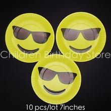 3620fe959e39 10 unids lote cara emoji tema platos desechables funny emoji con gafas  fiesta de cumpleaños