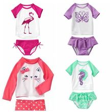 Swimsuit for children two-Pieces Baby Girls Bathing Suit summer cute Cartoon pattern Swimwear kid swimming suit