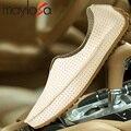 Ahueca hacia Fuera Transpirable cuero de Vaca Nuevo 2016 Verano Zapatos de Cuero Genuino de la Alta Calidad de La Manera Hombres de Zapatos Casual Zapatos Del Holgazán Plana