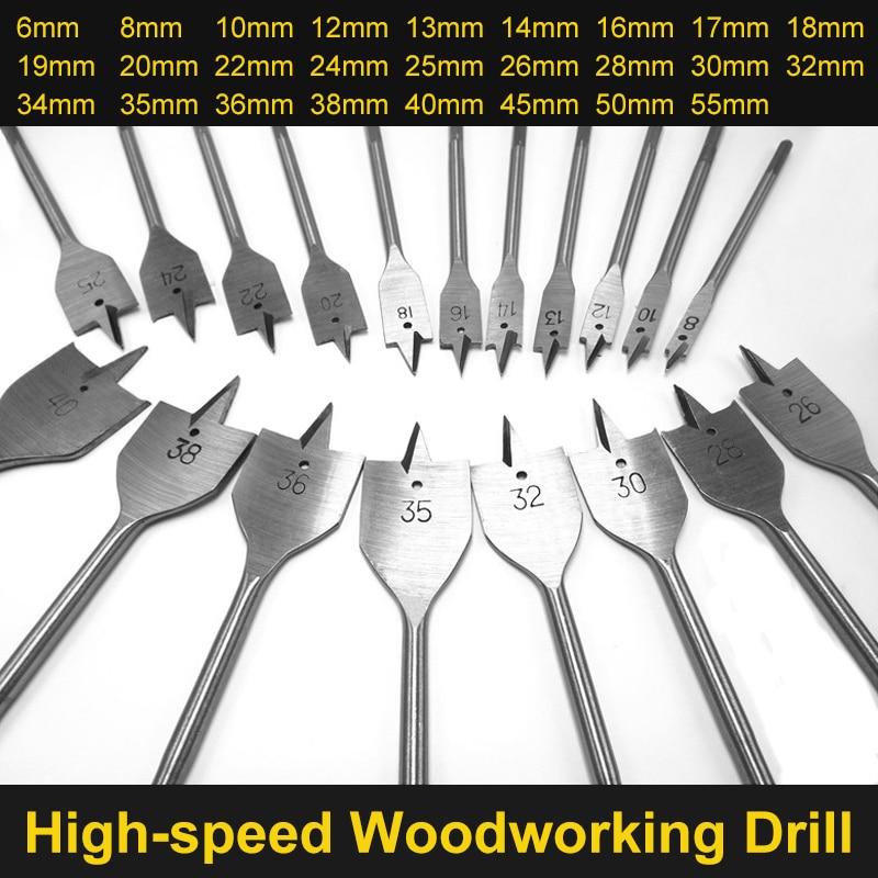 цена на 6-55mm Flat Drill Long High-carbon Steel Wood Flat Drill Set Woodworking Spade Drill Bits Durable Woodworking Tool Sets