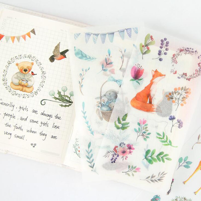 6pcs/bag, Children's Stationery Forest Elf Transparent Pvc Sticker Cartoon Stationery Diary Scrapbook Decoration Stationery Gift