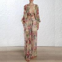 Летнее богемное Шелковый комплект из двух предметов Для женщин короткие Стиль от Shouler Блузки Топ и длинные штаны праздничные пикантные Цвет