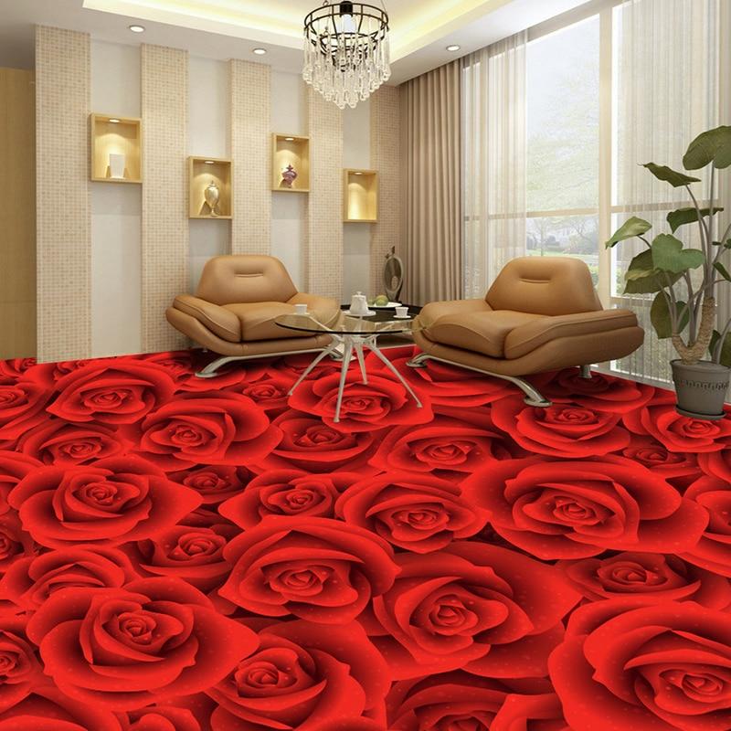 Custom 3D Floor Wallpaper Red Rose Flower LivingRoom Bedroom Bathroom Floor Sticker PVC Self-adhesive Mural Wallpaper Waterproof