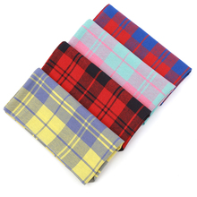 Handmade Dog Plaid Bandana Cotton Soft Double Layer Scarf for Puppies Medium Dogs Grooming Accessories 2 Sizes S M