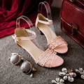 2016 New large size 31-43 sexy summer women shoes Elegant Open Toe Fretwork Thin Heel high heel sandals 5 Color