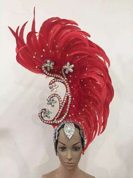 Image 2 - Feather clothing Stage performance catwalk carnival Headdress flower pubs party Men's wear women's clothing-in Women's Hair Accessories from Apparel Accessories