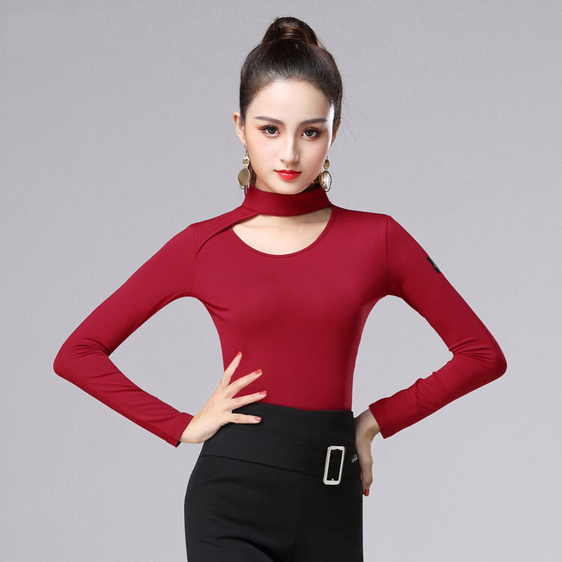 Latin Dance Top Long Sleeve Slim Fit Shirts Women Cha Cha Rumba Samba Dancing Clothes Ladies Practice Performance Wear DNV11196