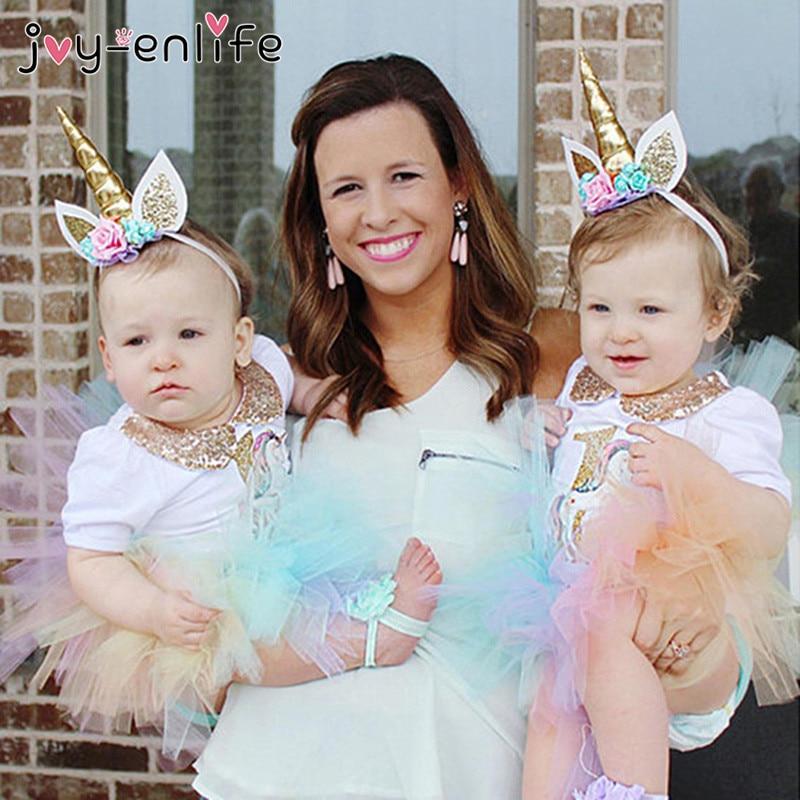 JOY-ENLIFE 1pcs Unicorn Horned Gauze Flower Hair Headdress Kids Children Headwear Baby Shower Birthday Christmas Decor Supplies