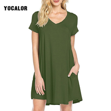 2017 Summer Short Sleeve Solid Color Casual Loose Women Slim Dress For Fat  With Pocket Vestidos 13a1688ef72c