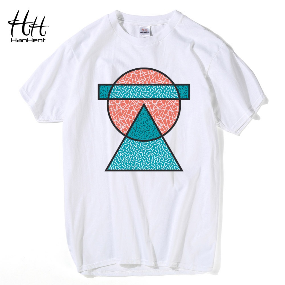 HanHent 100 Cotton Geometric T shirt Men Short Sleeve Mens Tee shirts Streetwear Fashion Trend Printed Casual Shirts Tops
