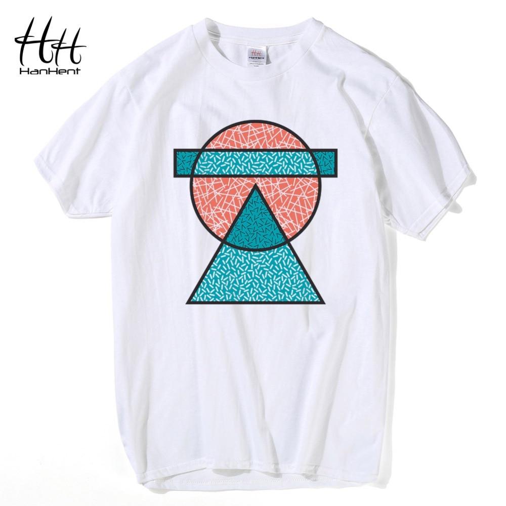 HanHent 100% Baumwolle Geometrisches T-shirt Männer Kurzarm Herren - Herrenbekleidung