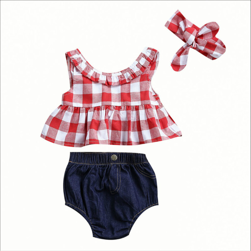 Summer New Hot Sale Kids Baby Girls Plaid Sleeveless Outfit Tops Denim Short Pants Jeans Fashion Clothes Hairband 3pcs Cool Set hot sale 2016 kids boys girls summer tops baby t shirts fashion leaf print sleeveless kniting tee baby clothes children t shirt
