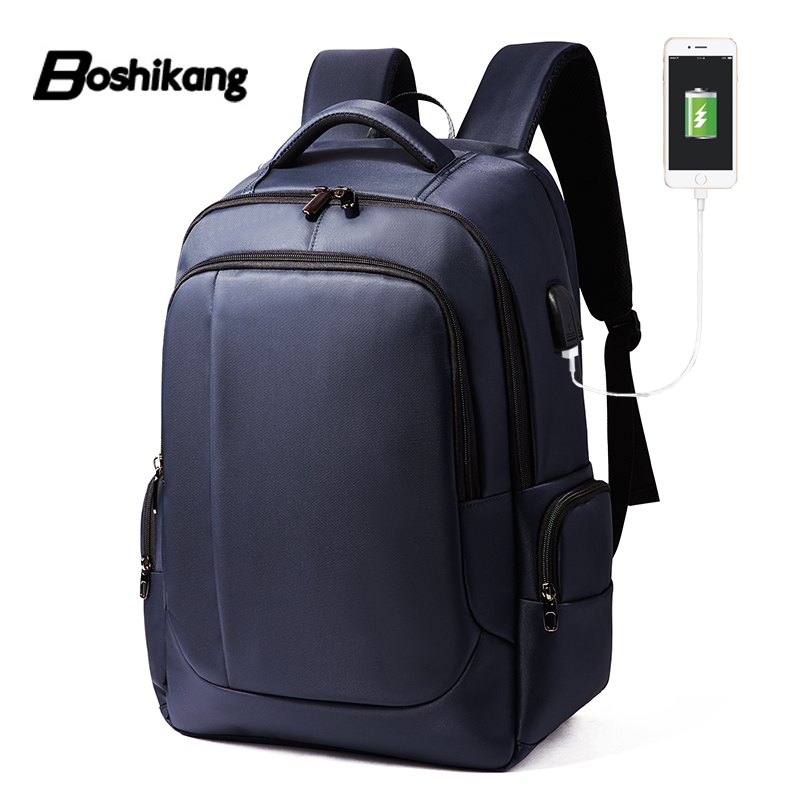 Boshikang 15 6 inch Laptop Backpack For Men Water Repellent Functional Rucksack with USB Charging Port