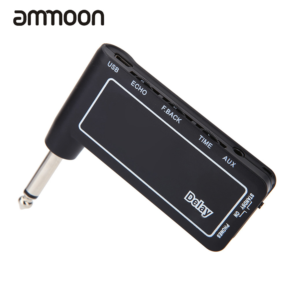 brand new mini rechargeable electric guitar plug headphone amp amplifier digital delay effect. Black Bedroom Furniture Sets. Home Design Ideas