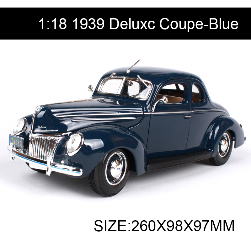 ФОТО 1:18 diecast Car 1939 Deluxc Coupe Blue Classic Cars 1:18 Alloy Car Metal Vehicle Collectible Models toys For Gift