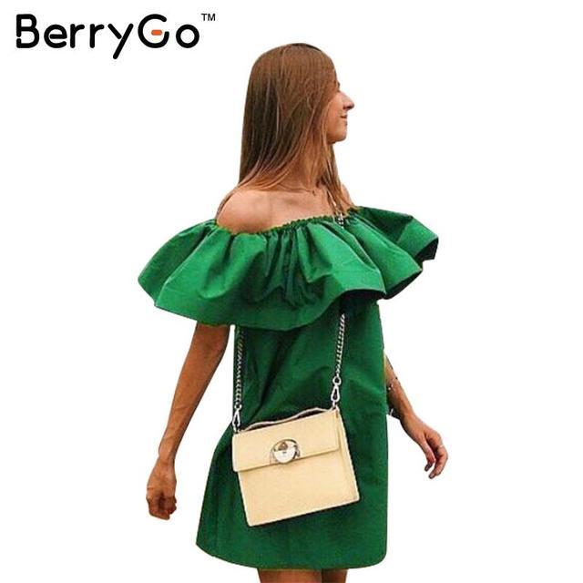 BerryGo Elegante vestido de verano Sexy hombro vestidos casuales mujeres de algodón de cuello de slash Volantes Muchachas del vestido de partido corto vestidos