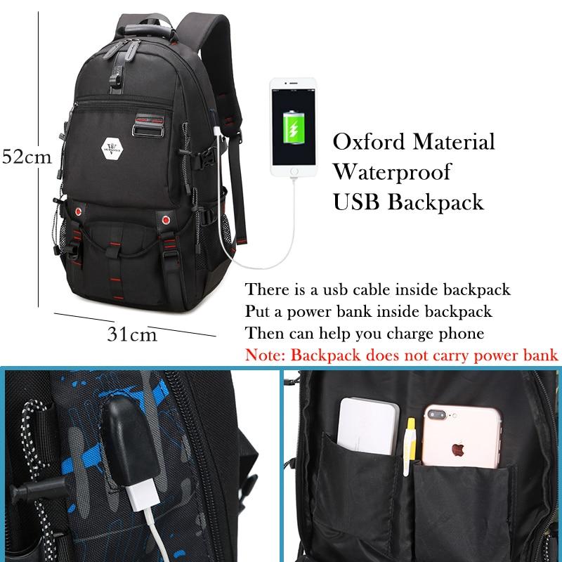 Vkingvsix Usb Waterproof Backpack Women Men 15.6 Inch Laptop Backpacks Travel Teen School Bags Boys Back Pack Mochila Bagback #3
