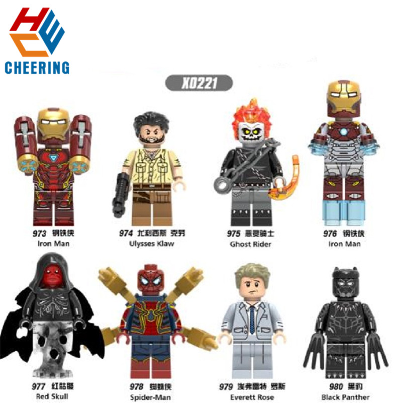 Single Sale Building Blocks Suoer Heroes Iron Man Ulysses Klaw Ghost Rider Assemble Figures Bricks Dolls Toys For Children X0221