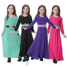 цены на kids dresses for girls summer Cotton Lace muslim dress girls 3D Flower Applique Abaya Long Sleeve Maxi Full Length Dress F401  в интернет-магазинах