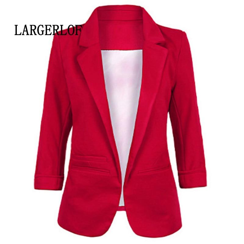 LARGERLOF Plus Size Blazer Women Three Quarter Ladies Blazer font b Slim b font Fit Simple