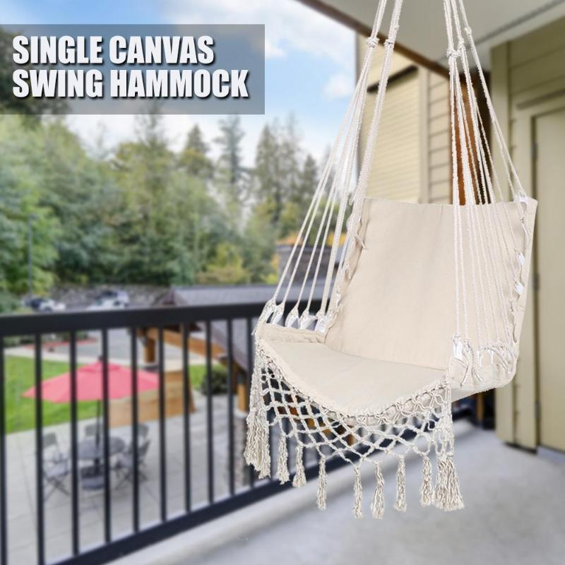 White Hammock Outdoor Indoor Garden Dormitory Bedroom Hanging Chair For Child Adult Swinging Single Safety Hammock