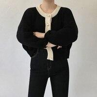 Malha Mulheres Casaco de lã 2017 Inverno Coreano Casaco Camisola Botões de Pérola Do Vintage Longo de Manga Curta cardigan Preto feminino 2219