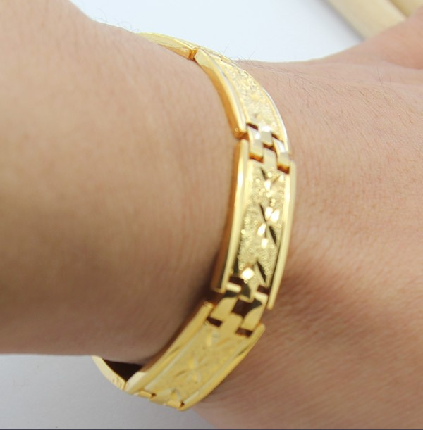 men shipping in women cuff bangles wholesale yellow gold from bracelets hollow big real jewelry vintage item bracelet size for or free flower plated