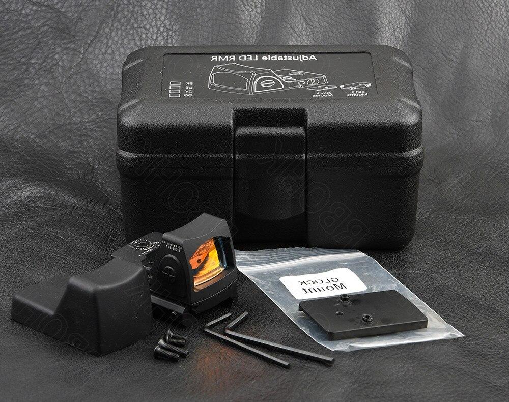 Mini rmr style 1x red dot sight scope for picatinny rail and glock base mount Key switch 6 MOA black M6293