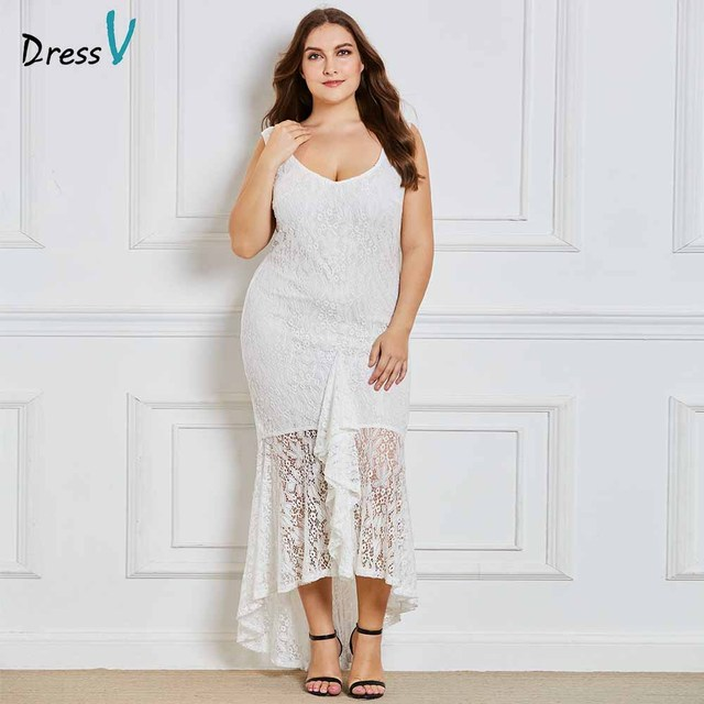 Dressv белый v шеи большие размеры вечернее платье Элегантный Русалка рукавов Кружева Свадебная вечеринка торжественное платье вечернее платье es
