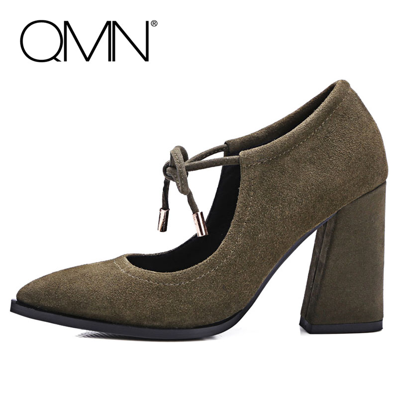 QMN women genuine leather pumps Women Natural Cow Suede Mary Janes Shoes Woman Pointed Toe Block Heels Pumps 34-39 qmn women crystal embellished natural suede brogue shoes women square toe platform oxfords shoes woman genuine leather flats