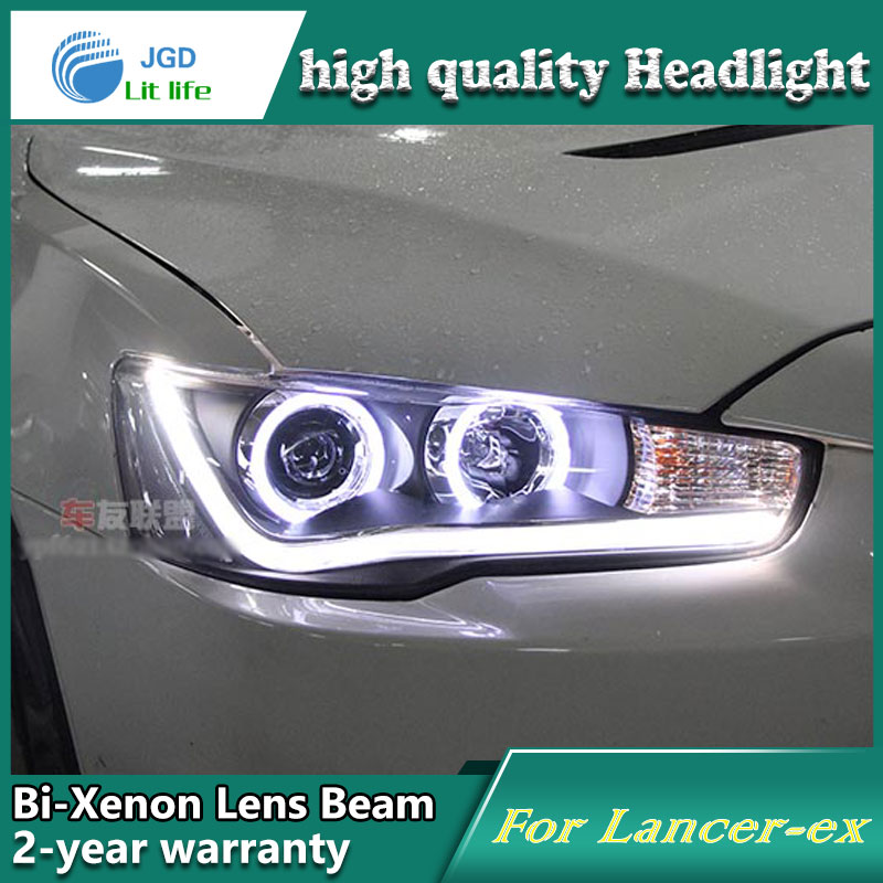 car styling For Mitsubishi Lancer headlights angel eyes DRL 2012 For LANCER LED light bar DRL Q5 bi xenon lens h7 xenon sinolyn car styling bi xenon led drl angel eyes headlight lens projector devil eye lamps 3 0 q5 d2s d2h tuning retrofit diy h4