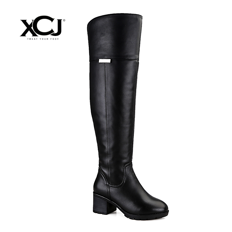 купить Brand Women Shoes Over The Knee Boots Plus Big Size High Quality Women Winter Shoes Genuine Leather Fur Wool Women Boots XCJ по цене 7411.73 рублей