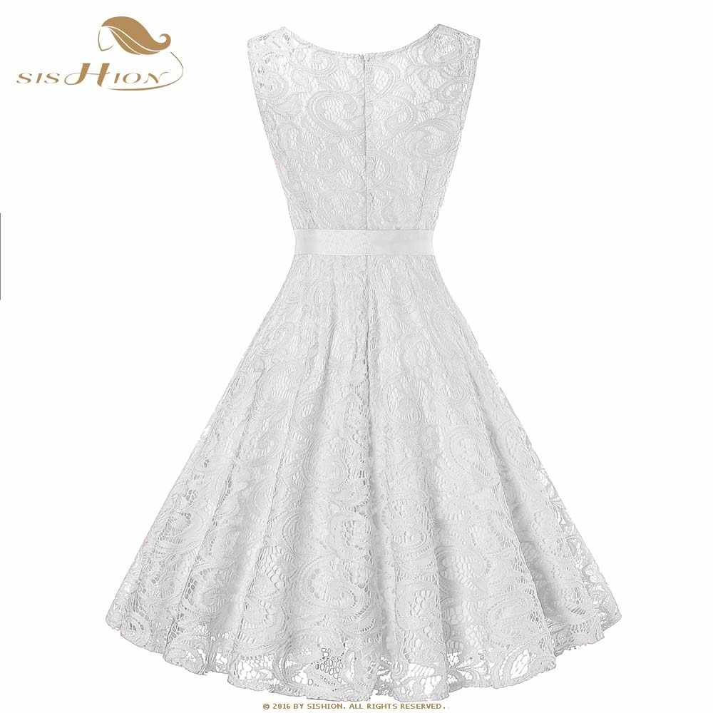 a973b013dd6c5 SISHION Women White Dress Sleeveless Tunic vestidos Elegant Bridesmaid  Wedding Vintage Wine Red Lace Dresses Plus Size VD0949