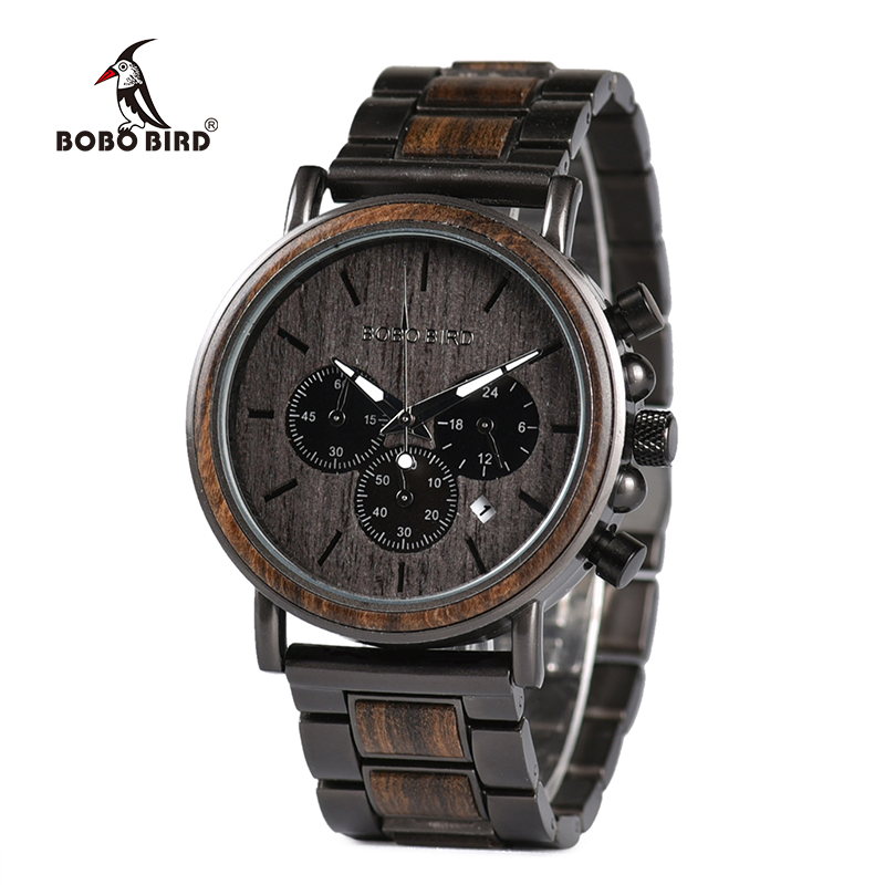 BOBO BIRD Wood Watch Men Stopwatch erkek kol saati Wooden Wristwatches Male Show Date Create Gift  saat erkek relogio masculino(China)
