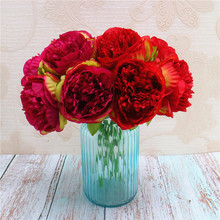 5 pcs Fake Peony for Christmas Decoration Flower Artificial Silk Wedding Home New Year Party Faux